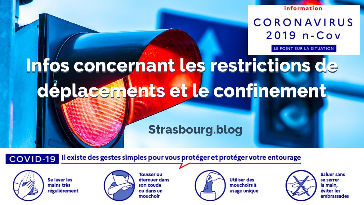 Infos concernant les restrictions de déplacements et le confinement Strasbourg